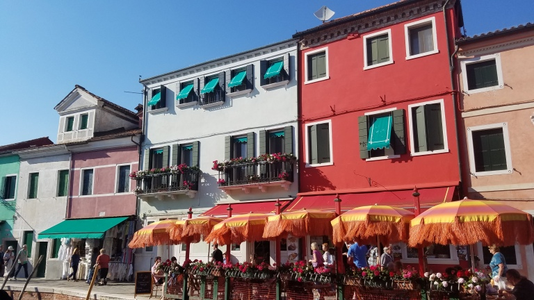 Red restaurant in Burano, Italy