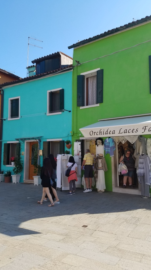 Acqua and lime green building in Burano, Italy