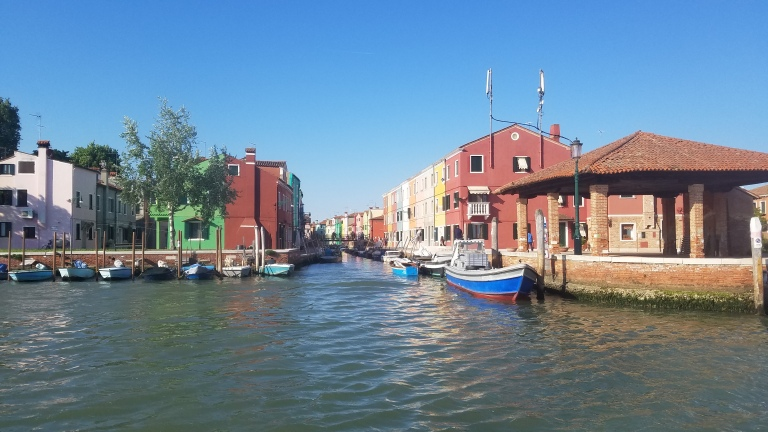 View of Burano, Italy from the boat