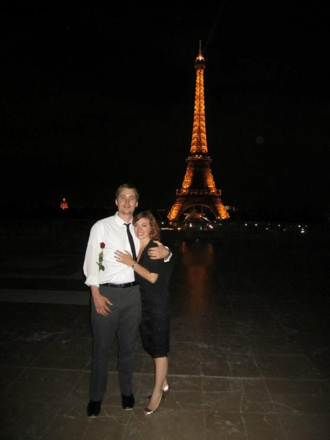 What's my favorite photo from my travels? This one of my husband and me, just after he proposed.