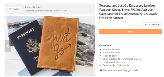 16 awesome gifts for the traveler in your life   Personalized leather passport cover and travel wallet