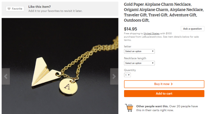 16 awesome travel gifts   Paper airplane necklace with initial