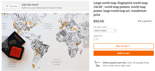 16 awesome gifts for the world traveller in your life | Thumbprint world map