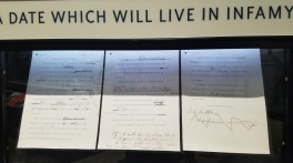 A draft of FDR's famous declaration of war, announcing the Americans' involvement in WWII.